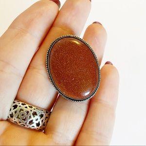 Vintage 925 sterling silver goldstone brooch pin
